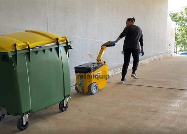 Moving the Rubbish Bin up a ramp with a Electric Tug