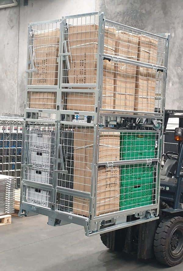 HPCage double stacked on forklift